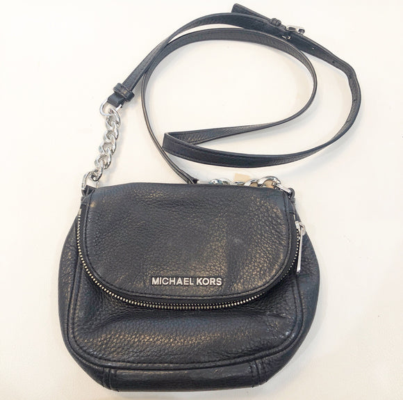 MICHAEL KORS Black Small Bedford Flap Crossbody Handbag