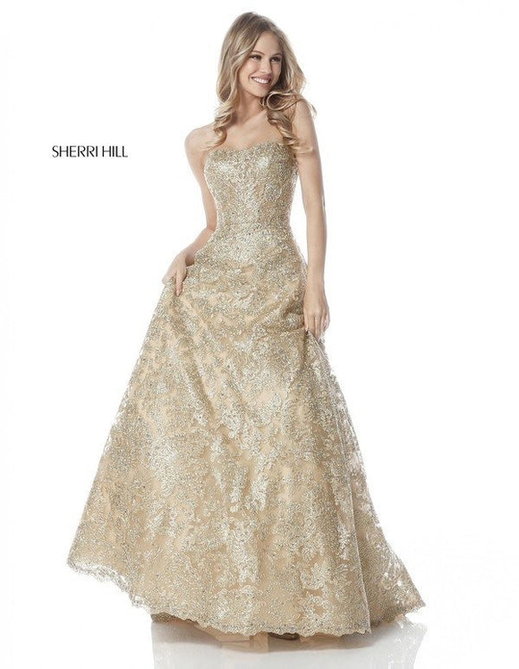 SHERRI HILL Long Gold Lace Embroidered Ball Gown Size 6