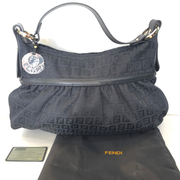FENDI Black Monogram Big Tuc Bag Zucchino NWT
