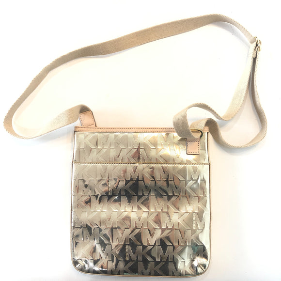 MICHAEL KORS Gold Metallic Crossbody Handbag