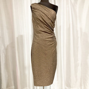 RALPH LAUREN Short Bronze One Shoulder Dress Size 10