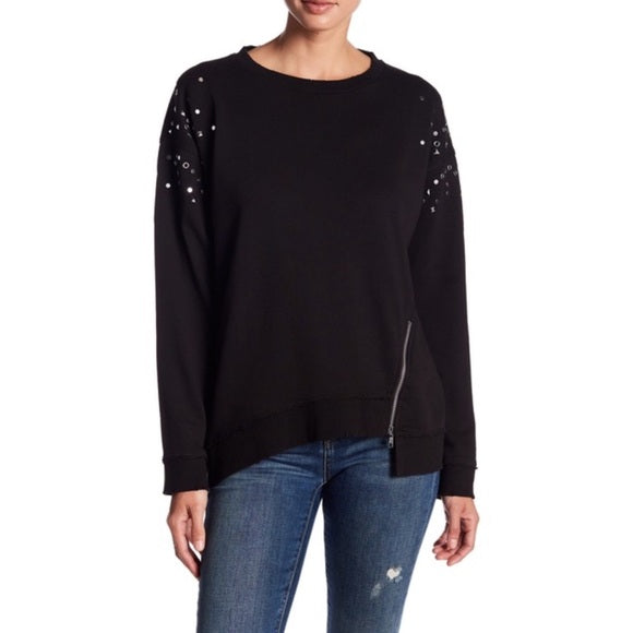 JOES COLLECTION NWT Black Sweatshirt with Grommets
