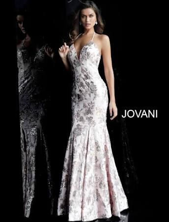 JOVANI Long Blush Floral Sequined Trumpet Gown