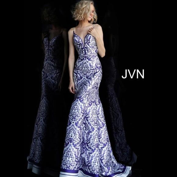JVN BY JOVANI White Print Mermaid Long Gown Size 8