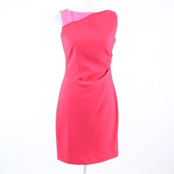 TAHARI RED AND PINK SIZE 6 SHORT DRESS