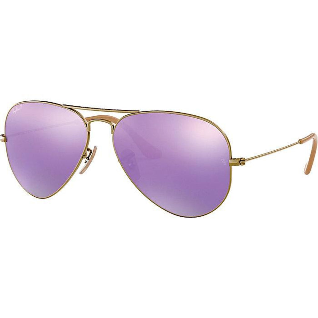 RAY BAN Aviator Large Metal RB3025 167/4K Brushed Bronze Lilac Mirror Sunglasses