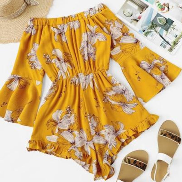 BOUTIQUE Yellow & Floral Print Rompers NWT