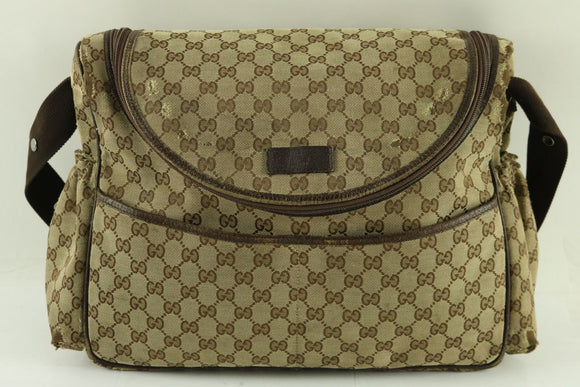 GUCCI BASIC GG SUPREME CANVAS DIAPER BAG