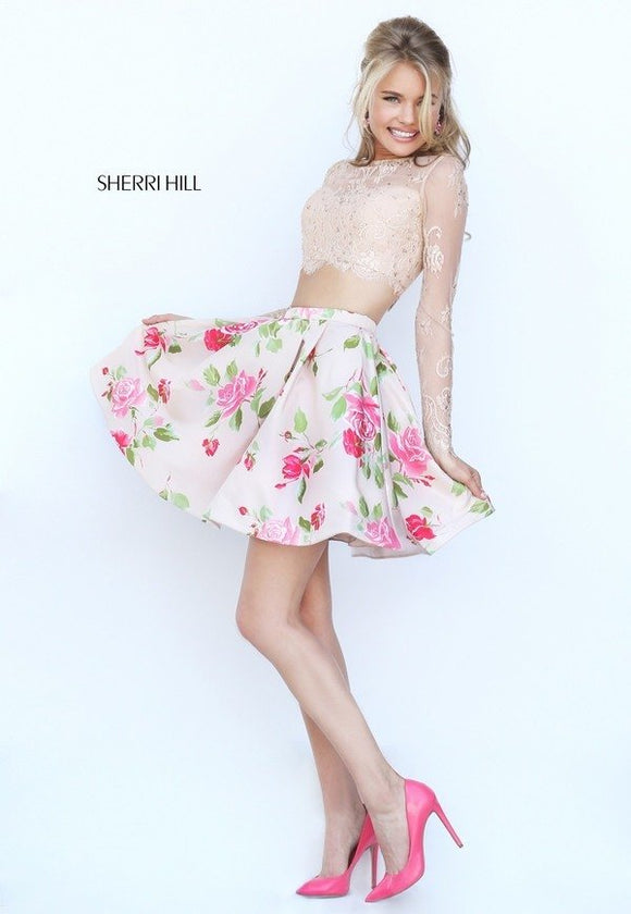SHERRI HILL TWO PIECE CREAM FLORAL STYLE 50464 SIZE 0