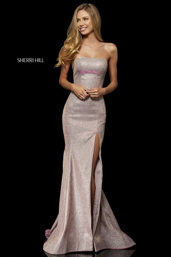 SHERRI HILL Long Strapless Electric Pink Gown Size 4