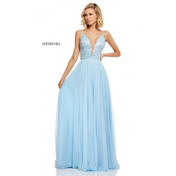 SHERRI HILL Baby Blue Plunge Neck Beaded Chiffon Gown Size 4