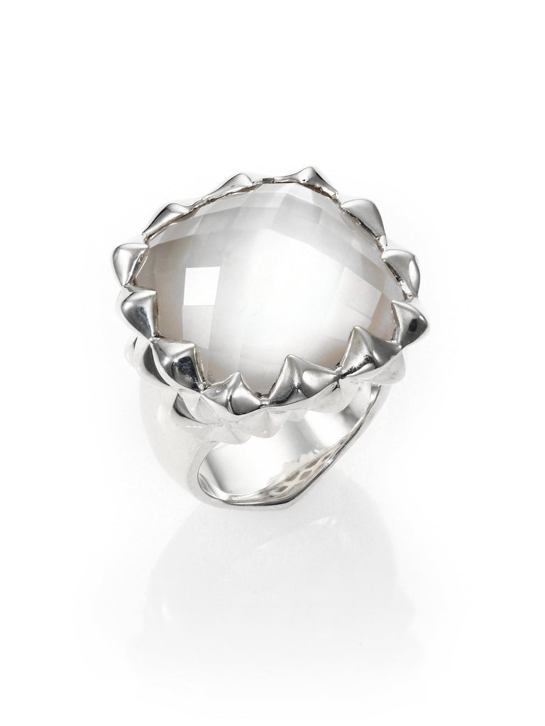 STEPHEN WEBSTER WOMEN'S METALLIC MOTHER-OF-PEARL CLEAR QUARTZ & STERLING SILVER HAZE SMALL SQUARE RING SIZE 8