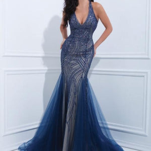TONY BOWLS Long Navy Blue with Nude Underlay Size 8