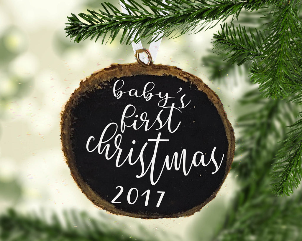 Baby's First Christmas Wood Slice Ornament