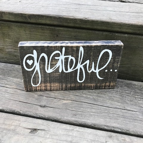 Grateful Rustic Wood Sign