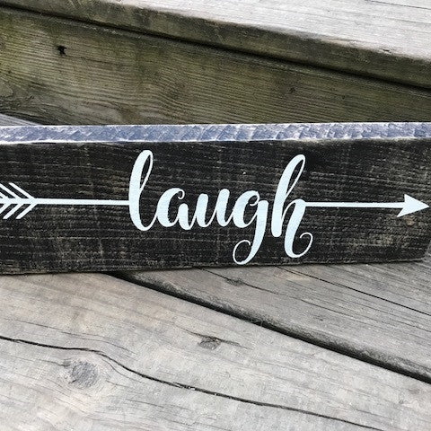 Rustic Laugh Wood Sign