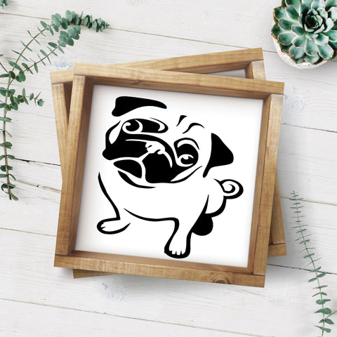 Pug Framed Wood Sign