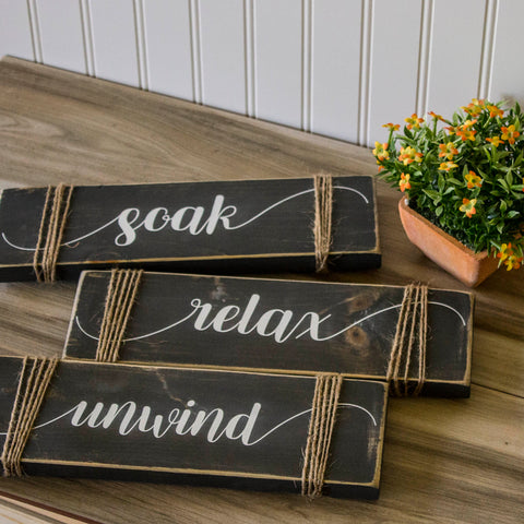 Soak, Relax, Unwind Distressed Trio