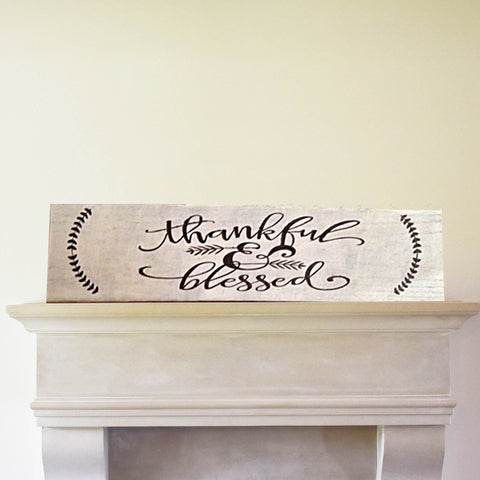 Thankful And Blessed Rustic Wood Sign