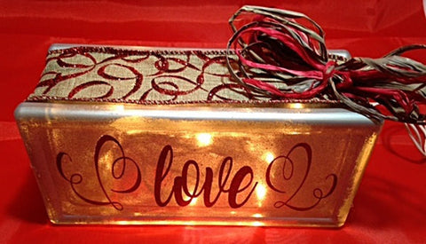 Love Lighted Glass Block