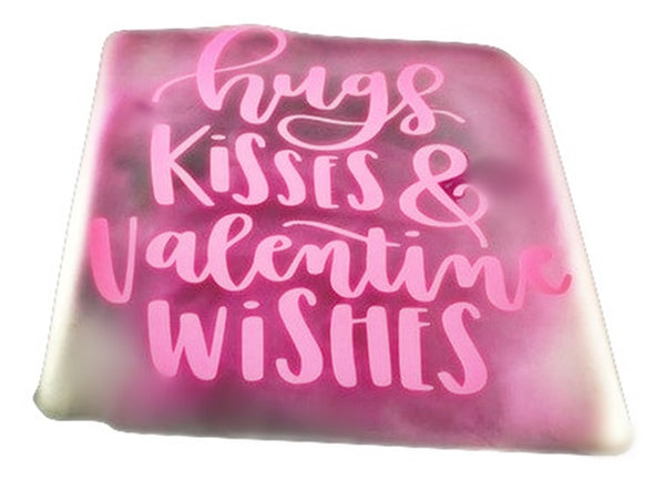 Hugs Kisses And Valentine Wishes Glass Block