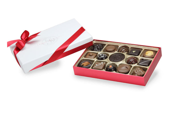 A dream come true for real chocolate lovers. Made with our specially-blended chocolate and the very best ingredients, this 15-piece box is the perfect gift for those who appreciate the fine art of chocolate making. Net Weight - 8 oz