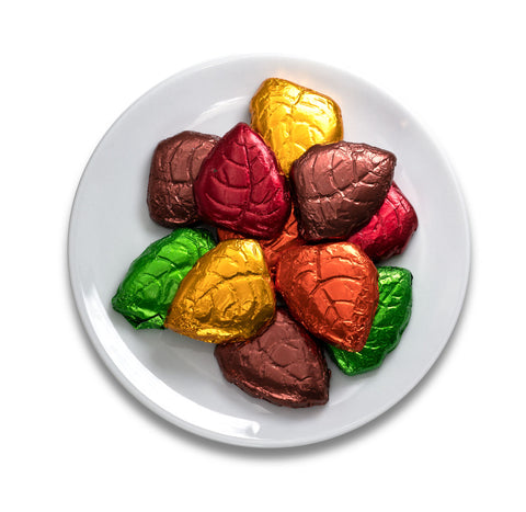Foiled chocolate autumn leaves