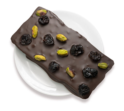 Vegan 70% Dark Chocolate Cherry Pistachio Cocoa Nibs bar