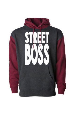 STREET BOSS Pull Over Hoodie Charcoal / Currant