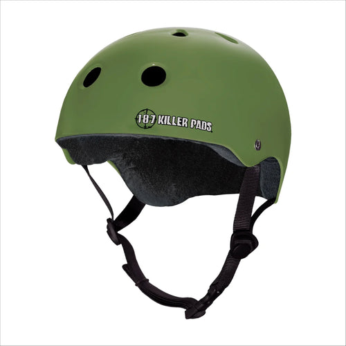 187 PRO SKATE HELMET with Sweat Saver Liner - Army Green Matte - Urban Ave Boardshop