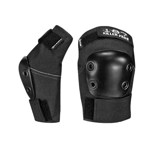 187 PRO ELBOW PADS (BLACK) - Urban Ave Boardshop 187 Killer Pad's Pro Elbow pad is designed for action sports athletes who want the highest level of elbow protection Extra thick padding provides superior impact protection Articulated design maximizes range of motion w/ size progressed cap exends protective coverage zone Seamless interior finish provides ultimate comfort Ballistic nylon with industrial-weight stitching ensures durability