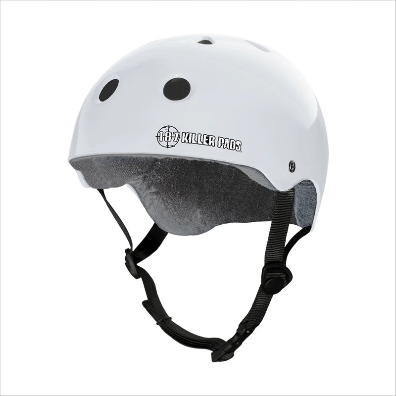 187 PRO SKATE HELMET with Sweat Saver Liner - White Glossy - Urban Ave Boardshop