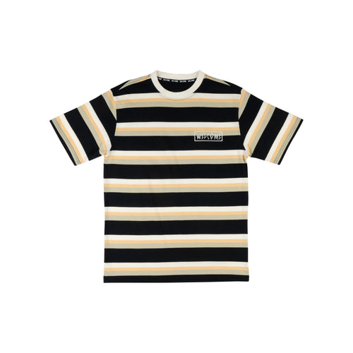 WELCOME MEDIUS STRIPE S/S KNIT - BLACK SAND - Urban Ave Boardshop