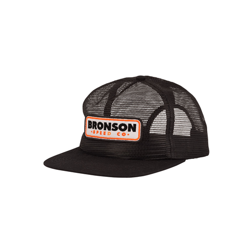 Bronson Speed Co. BSC Patch Mesh Trucker Mid Profile Hat Black OS Mens
