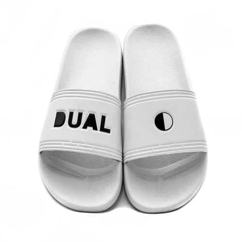 DUAL FOOTWEAR RETRO WHITE  BLACK LOGO