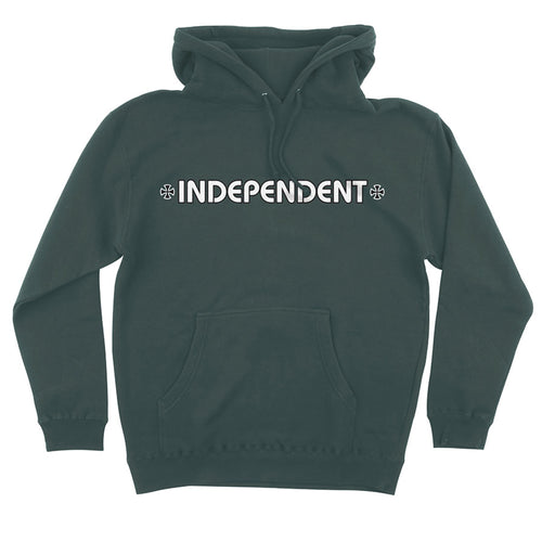 INDEPENDENT BAR/CROSS PULLOVER HOODED L/S ALPINE GREEN