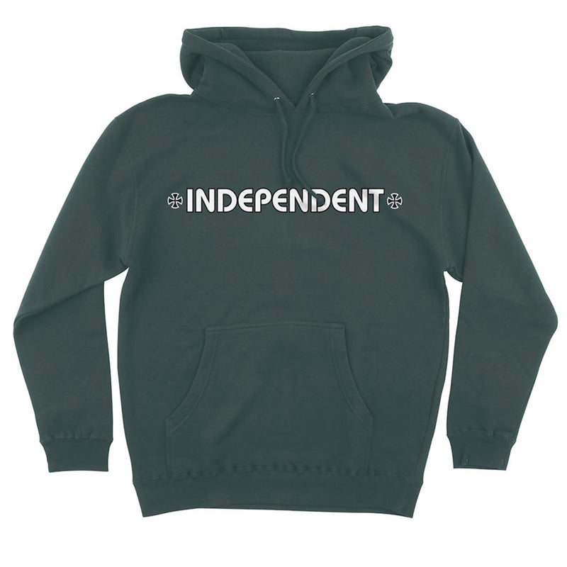 INDEPENDENT BAR/CROSS PULLOVER HOODED L/S ALPINE GREEN - Urban Ave Boardshop