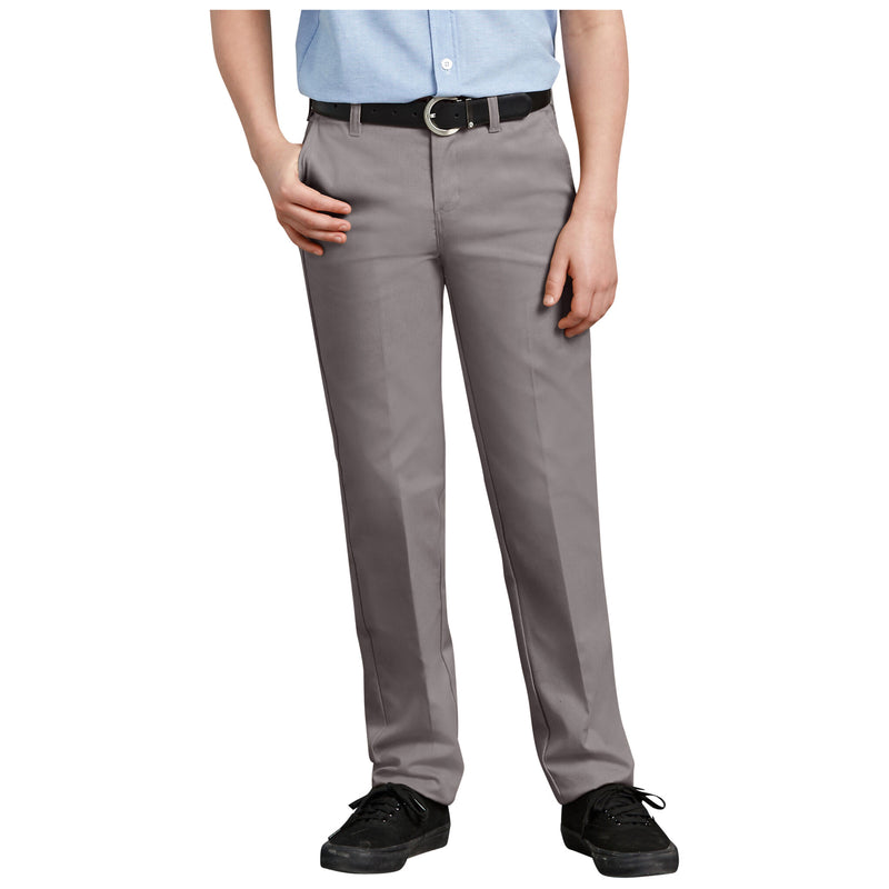 DICKIES BOYS ULTIMATE KHAKI FLAT FRONT PANT (SILVER) - Urban Ave Boardshop