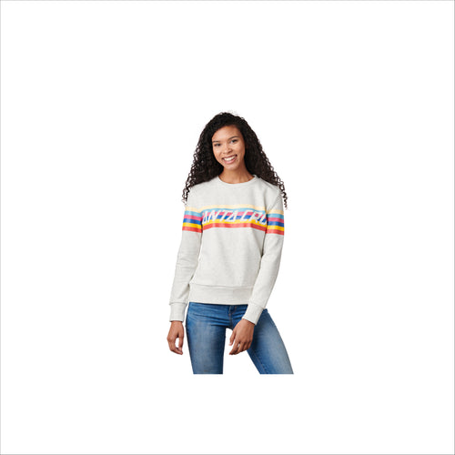 Santa Cruz Stripe Strip Crew Neck Heavyweight Womens Heather Grey Marble - Urban Ave Boardshop