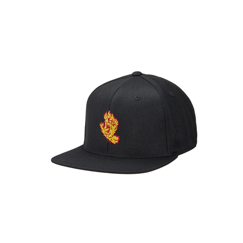 Santa Cruz Flame Hand Snapback High Profile Hat Black OS Mens