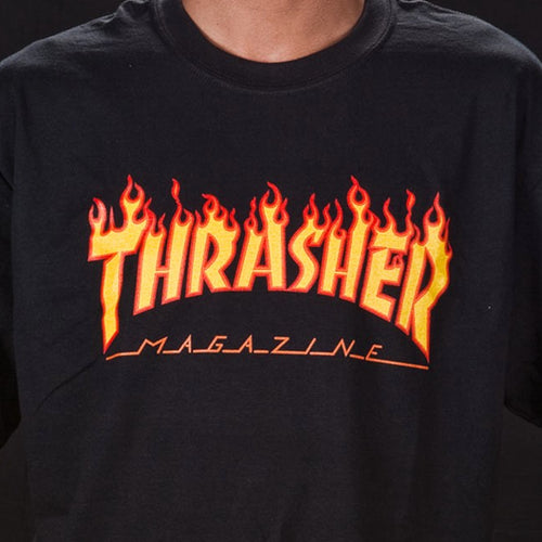 THRASHER T-SHIRT FLAME LOGO BLACK - Urban Ave Boardshop