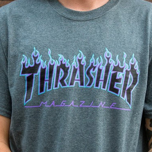 THRASHER T-SHIRT FLAME LOGO DARK HEATHER - Urban Ave Boardshop