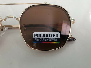 Metal Retro Flip Sunglasses / Gold / Polarized / Quality - Blue Light Blocking Eyewear