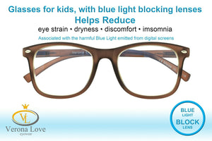 KIDDO Blue Light Blocking Lens Computer Kids Glasses 0.00 Magnification Brown - Blue Light Blocking Eyewear