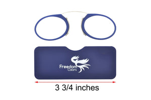 Ultra slim mini reading glasses Pince Nez unisex style +3.00 strength. - Blue Light Blocking Eyewear
