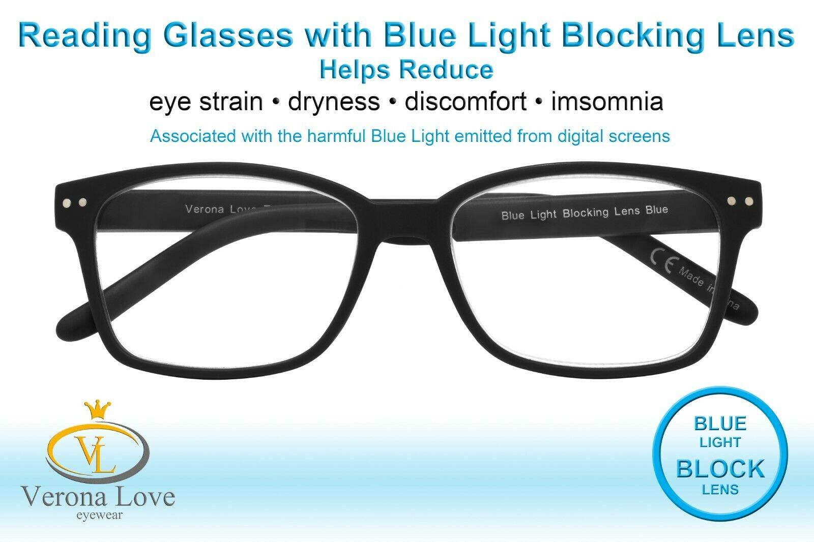 TRELEW Blue Light Blocking Lenses Computer Reading Glasses Unisex +0.50 Black - Blue Light Blocking Eyewear