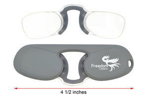 Freedom Colors Rubber Ultra Slim Reading Glasses. Grey +2.00 Strength - Blue Light Blocking Eyewear