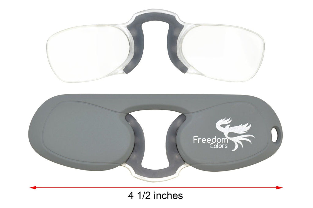 Freedom Colors Rubber Ultra Slim Reading Glasses. Grey +1.50 Strength