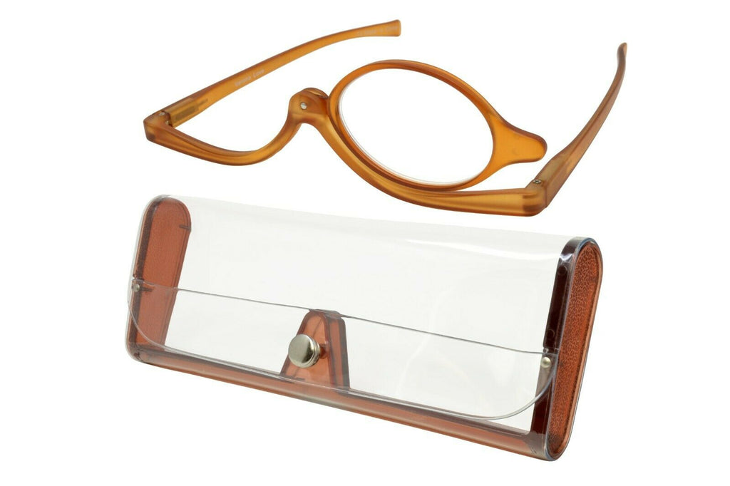 Verona Love Teté Makeup Magnifying Glasses Swivel Single Lens Brown Power + 3.50 - Blue Light Blocking Eyewear
