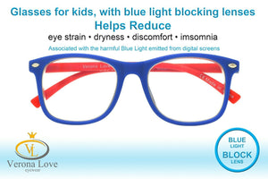 KIDDO Blue Light Blocking Lens Computer Kids Glasses 0.00 Magnification Blue Red - Blue Light Blocking Eyewear
